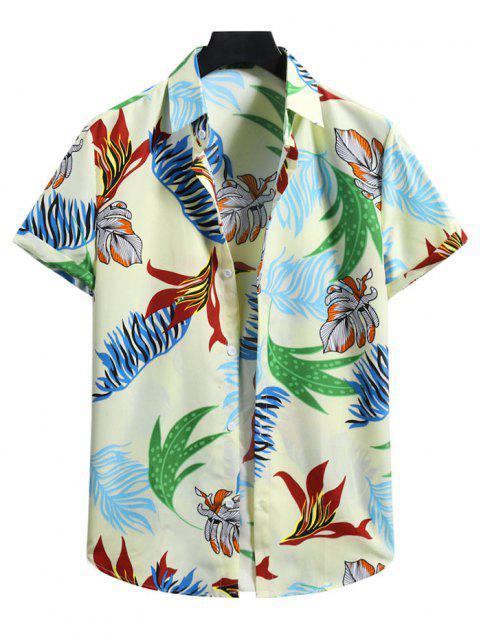 Camisa Manga Corta Estampado Hojas Tropicales - Amarillo claro XL Mobile