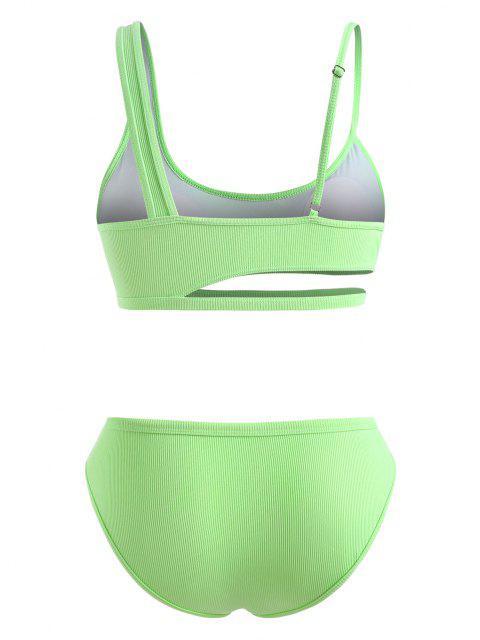 ZAFUL Übergröße Ausschnitt Bikini Badebekleidung mit Rippen - Grün XL Mobile