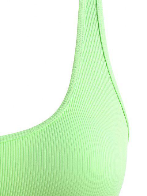 ZAFUL Maillot de Bain Bikini Côtelé Découpé de Grande Taille - Vert XXXXL Mobile