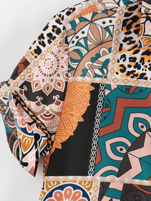sale ZAFUL Bohemian Leopard Patchwork Print Pocket Shirt - LIGHT COFFEE XXL Mobile
