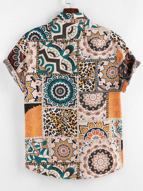 best ZAFUL Bohemian Leopard Patchwork Print Pocket Shirt - LIGHT COFFEE XL Mobile