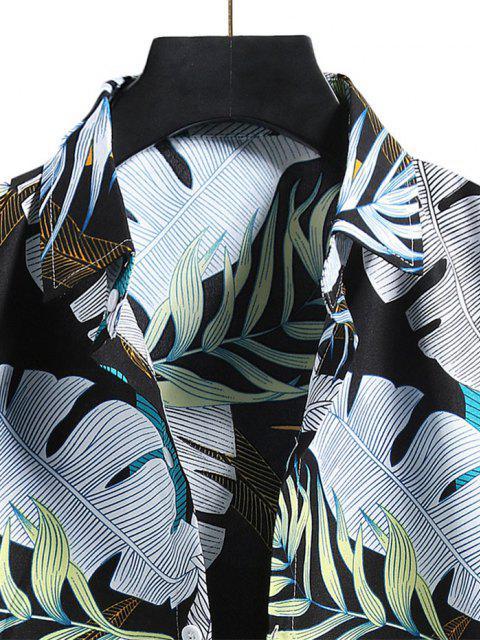 Camisa de Vacaciones de Hoja Tropical - Negro 2XL Mobile