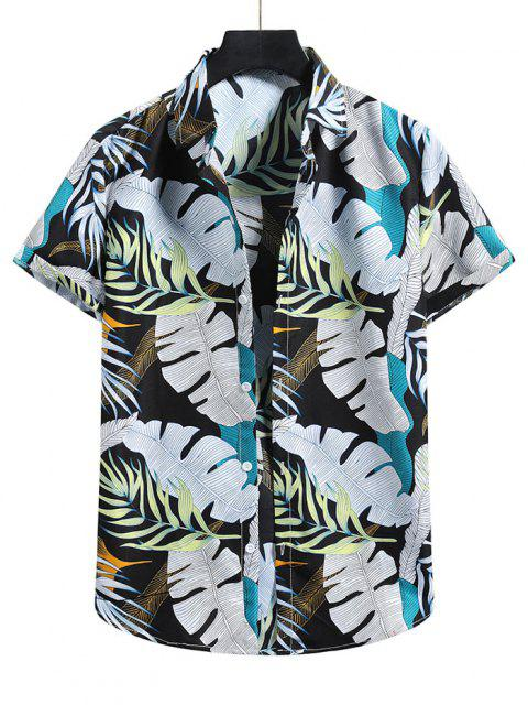 Tropical Leaf Vacation Shirt - أسود 2XL Mobile