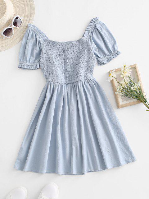 sale Smocked Back Ruffle Bowknot Puff Sleeve Dress - LIGHT BLUE S Mobile