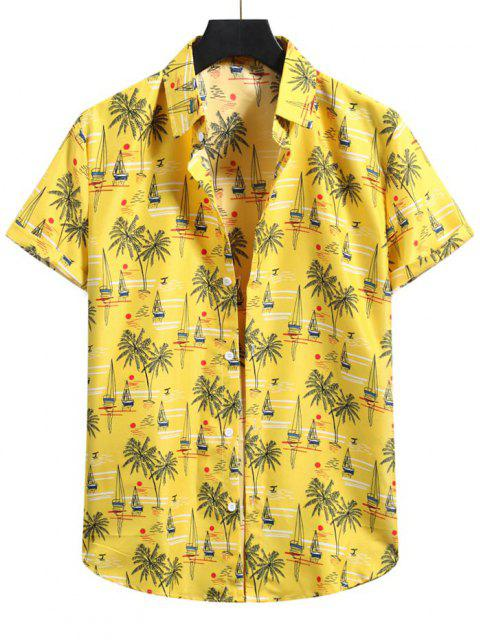 hot Palm Tree Short Sleeve Vacation Shirt - RUBBER DUCKY YELLOW M Mobile