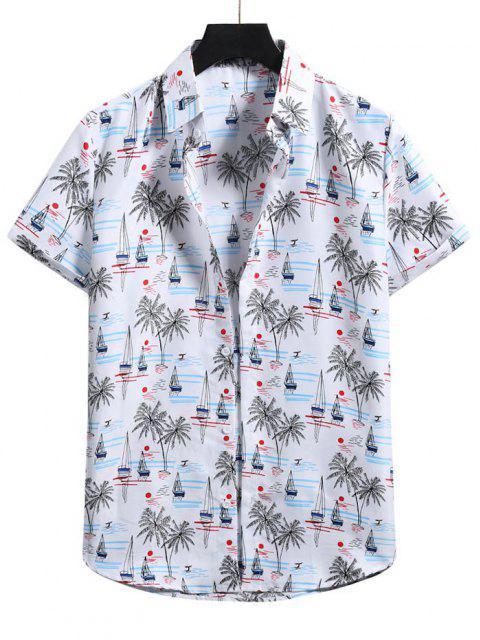 Palme Baum mit Kurzen Ärmeln Urlaub Hemd - Weiß 2XL Mobile
