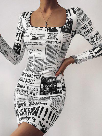 Square Neck Newspaper Print Bodycon Dress - White L