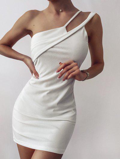 Solid One Shoulder Slinky Mini Dress - White M