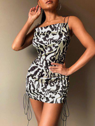Leopard Cinched Tie Shoulder Satin Cami Dress - Multi S