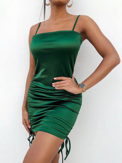 ZAFUL Spaghetti Strap Cinched Satin Bodycon Dress - Dark Green S