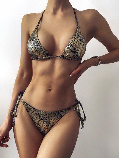 ZAFUL Leopard Wet Look Disco Scrunch Butt Bikini Swimwear - Golden S