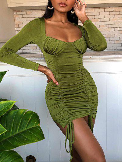 Geschnürtes Bodycon Kleid Mit Rüschen - Dunkelgrün M