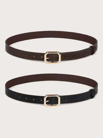 Cintura In Tinta Unita Con Fibbia Animale 2Pz - D'oro