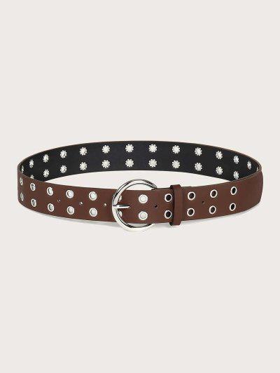 Two Row Grommet Buckle Belt - Sepia