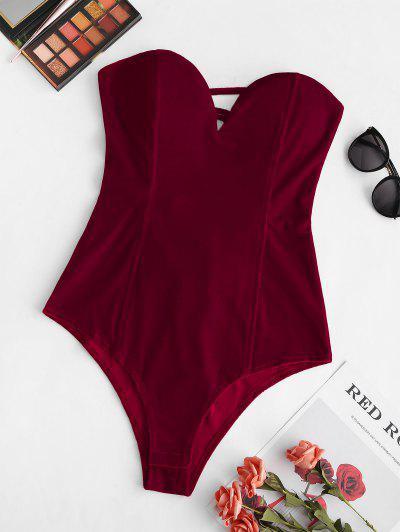 V-wired Velvet Boning Lace-up Bandeau Bodysuit - Deep Red S