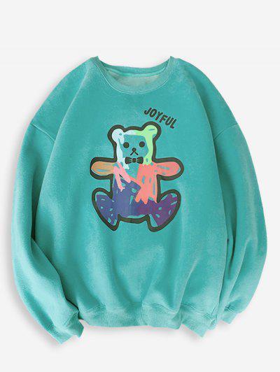Cartoon Bear Print Rib-knit Trim Sweatshirt - Turquoise Xl