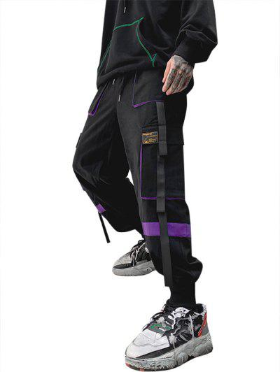 Drawstring Applique Detail Contrast Cargo Pants - Purple M