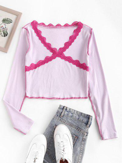 Lace Panel Topstitching Long Sleeve Baby Tee - Light Pink S