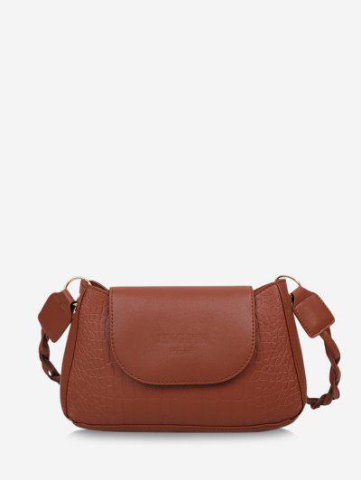 Embossed Letter Twist Strap Shoulder Bag - Light Brown