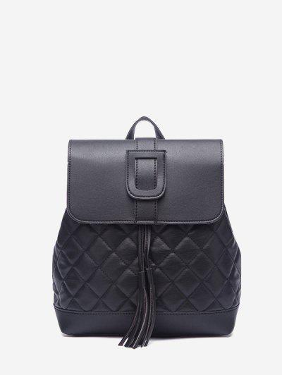Tassel Quilted Solid Backpack - Black