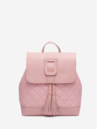 Tassel Quilted Solid Backpack - Pink