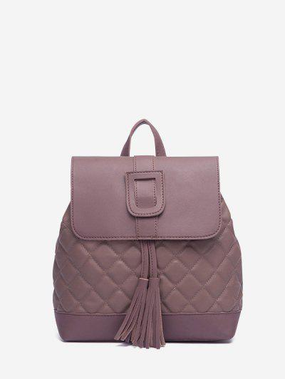 Tassel Quilted Solid Backpack - Dull Purple