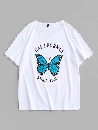 С короткими рукавами Футболка Принт бабочки иCalifornia - Белый L