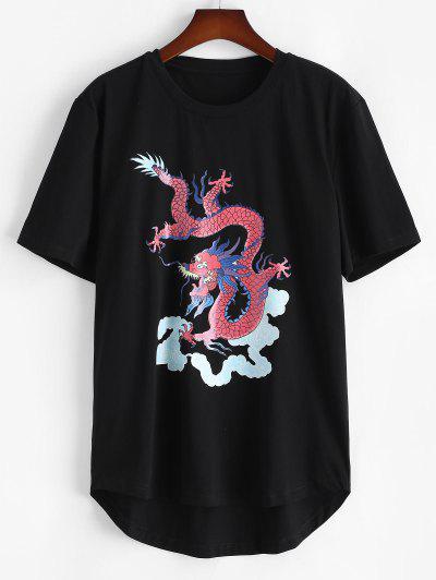 Short Sleeve Dragon Clouds Print T-shirt - Black Xl