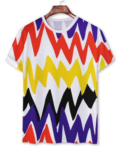 T-shirt Contrasté Chevron Imprimé à Manches Courtes - Blanc 2xl