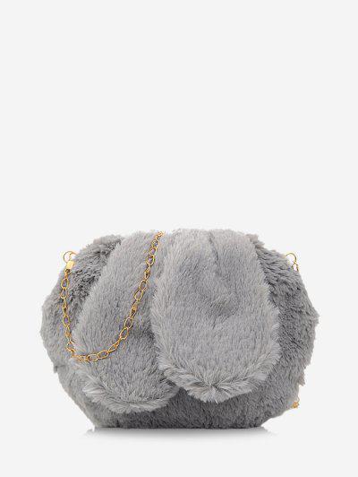 Rabbit Ear Design Fluffy Chain Crossbody Ba - Gray Goose
