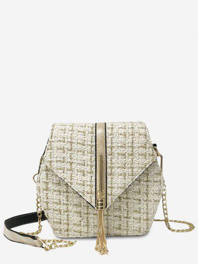 Tweed Metallic Fringe Plaid Pattern Chain Flap Crossbody Bag - Milk White