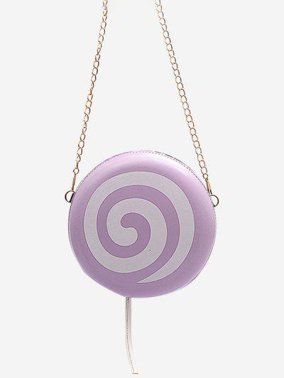 Lollipop Shape Chain Mini Round Crossbody Bag - Mauve