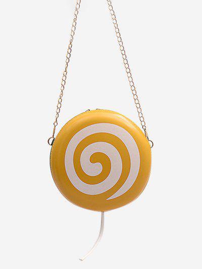 Lollipop Shape Chain Mini Round Crossbody Bag - Sun Yellow