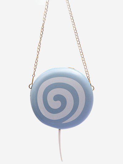 Lollipop Shape Chain Mini Round Crossbody Bag - Blue Gray