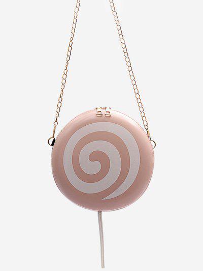 Lollipop Shape Chain Mini Round Crossbody Bag - Pig Pink