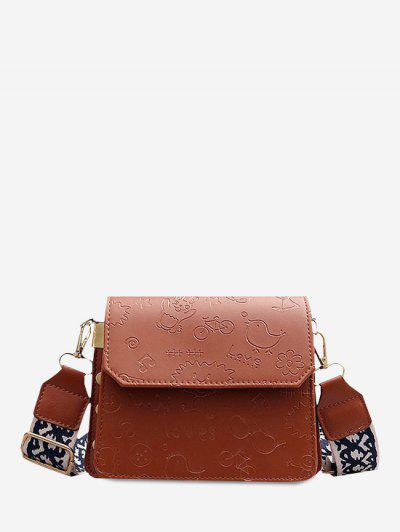 Cartoon Embossed Wide Strap Crossbody Bag - Brown
