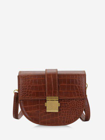 Textured Crossbody Saddle Bag - Light Brown