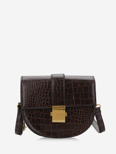 Textured Crossbody Saddle Bag - Deep Brown
