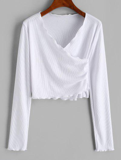 Lettuce Trim Rib-knit Crossover Front Crop Top - White S
