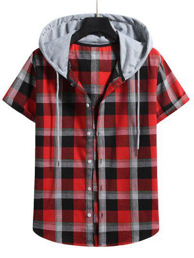 Camisa De Manga Curta Com Capuz De Impressão De Xadrez - Lava Vermelha S