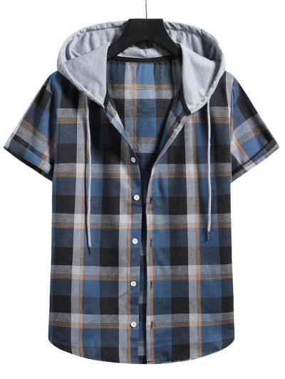 Contrast Hood Plaid Print Short Sleeve Shirt - Denim Dark Blue L