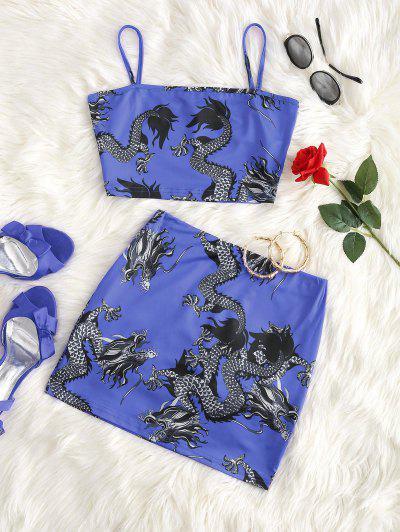 ドラゴンは、東洋ミニスカートセット - ブルー L