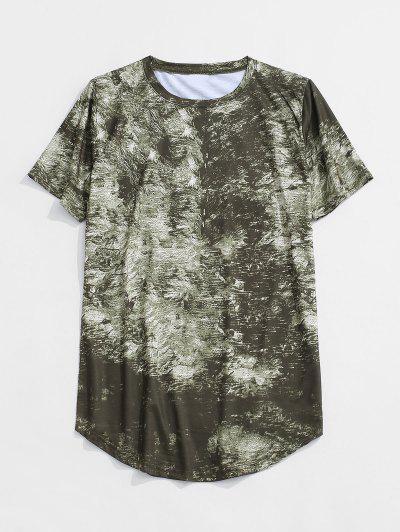 Short Sleeve Printed Curved Hem T-shirt - Green Xs