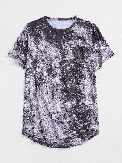 Short Sleeve Printed Curved Hem T-shirt - Gray Xs