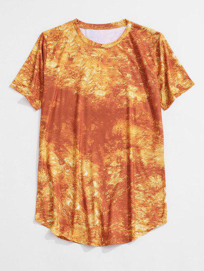 Short Sleeve Printed Curved Hem T-shirt - Yellow M