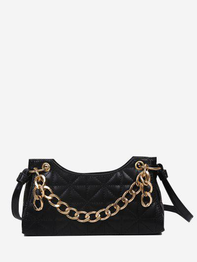Chain Quilted Shoulder Bag - Black