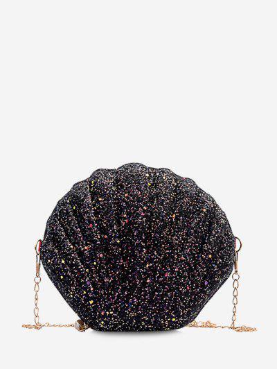 Shell Shape Glitter Chain Crossbody Bag - Black