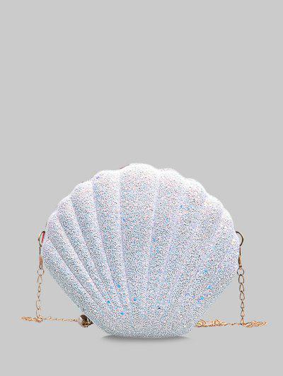 Shell Shape Glitter Chain Crossbody Bag - White