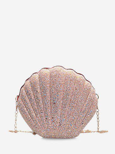 Shell Shape Glitter Chain Crossbody Bag - Pig Pink