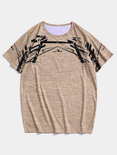 T-shirt De Sport Géométrique Chiné à Manches Courtes - Kaki S